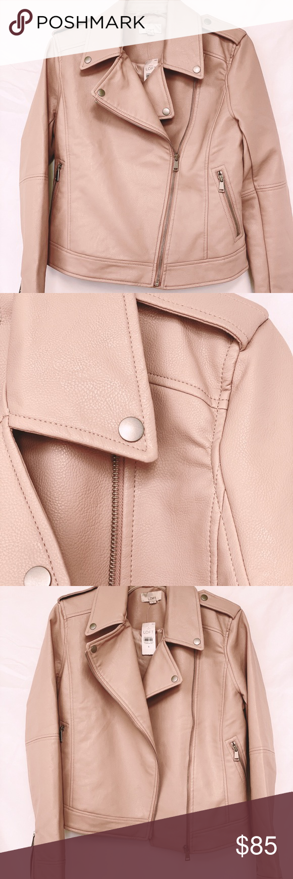 Nwt Ann Taylor Loft Faux Leather Moto Jacket Nwt Blush Pink Faux Leather Moto Jacket No Visible Flaws Faux Leather Moto Jacket Leather Moto Jacket Moto Style