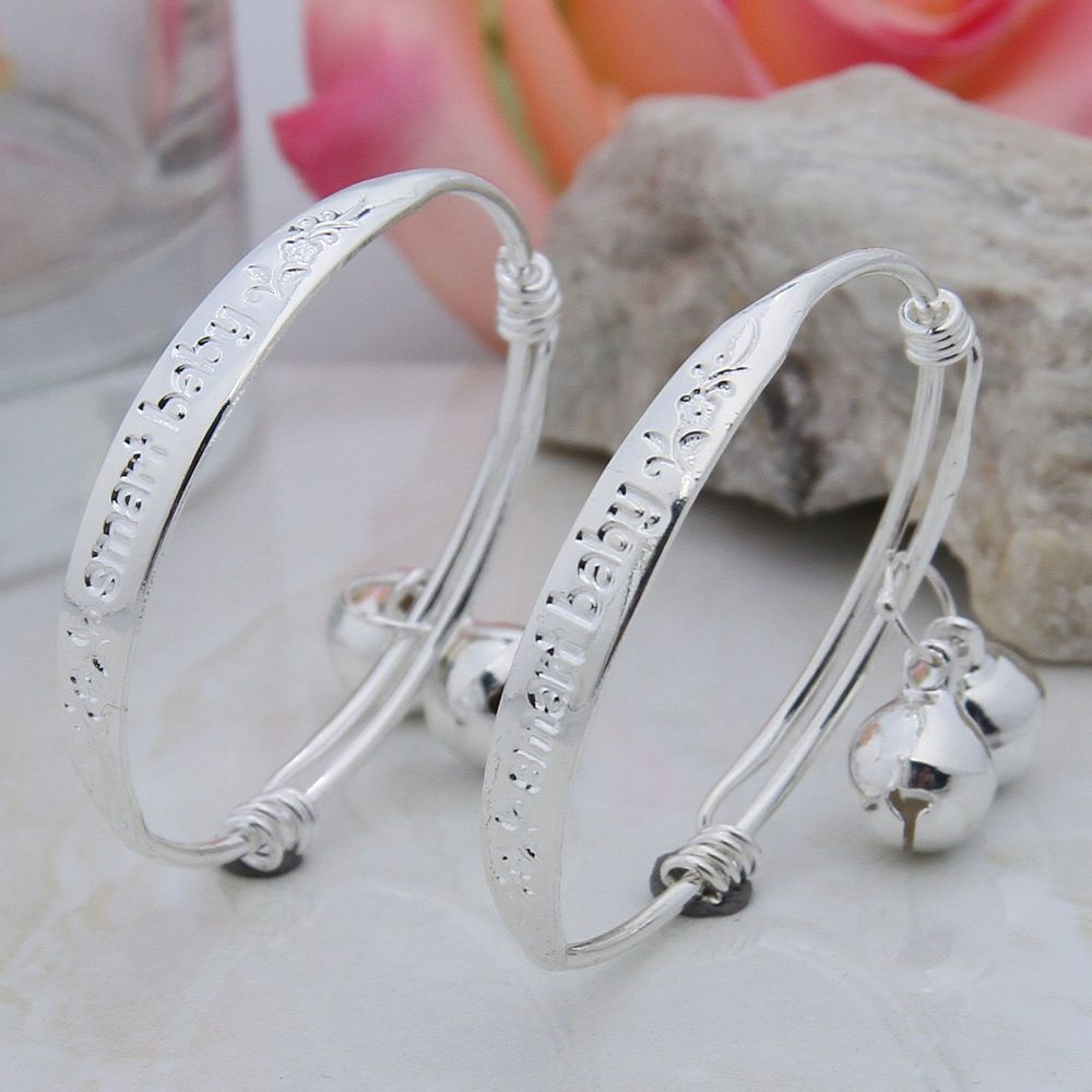 1Pair 925 Sterling Silver Bells Bracelet Jewelry Charming Bangle Wristband New