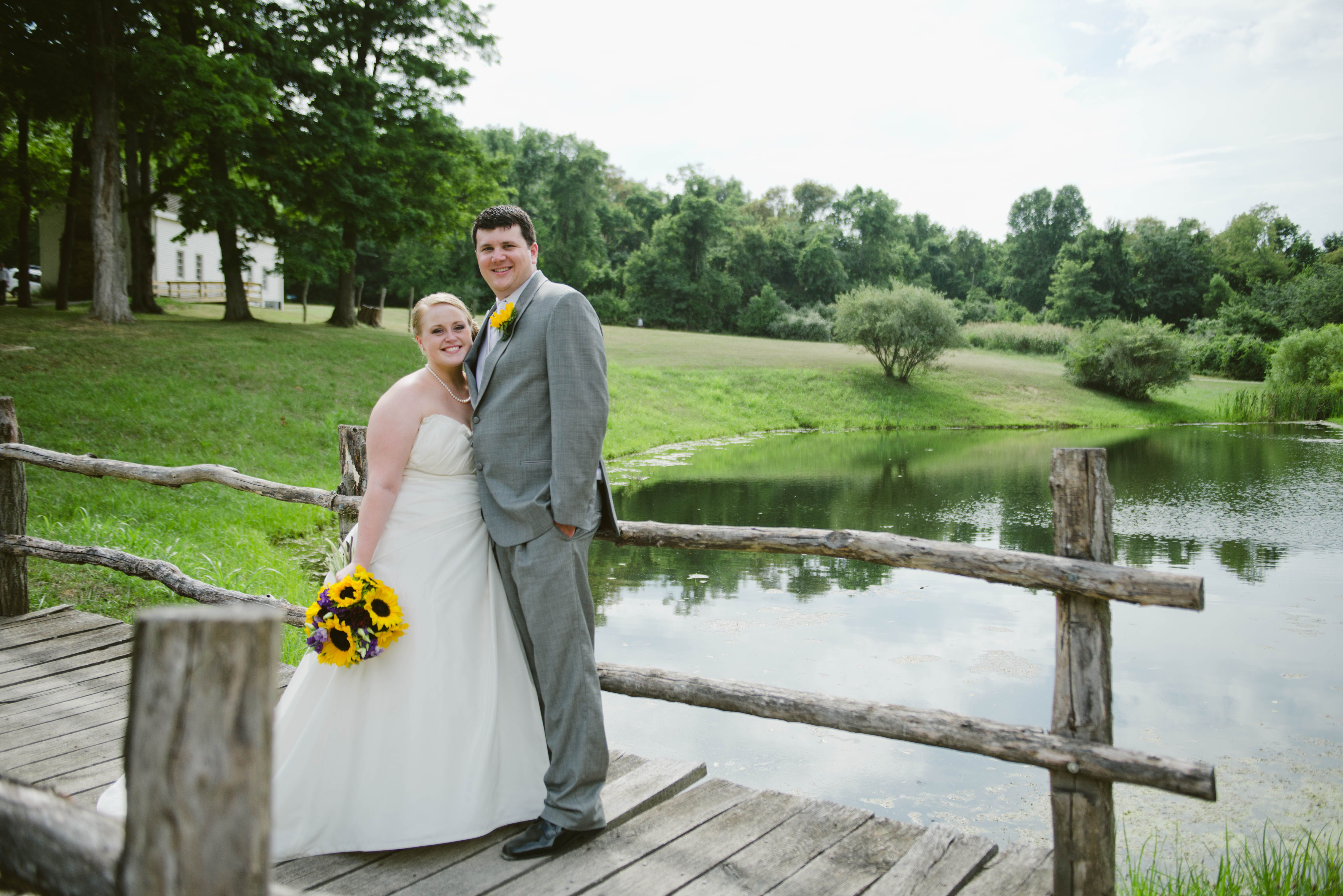 Us on the bridge after the wedding ceremony. Adena Mansions and Gardens. Photograph by Ashley West Photography
