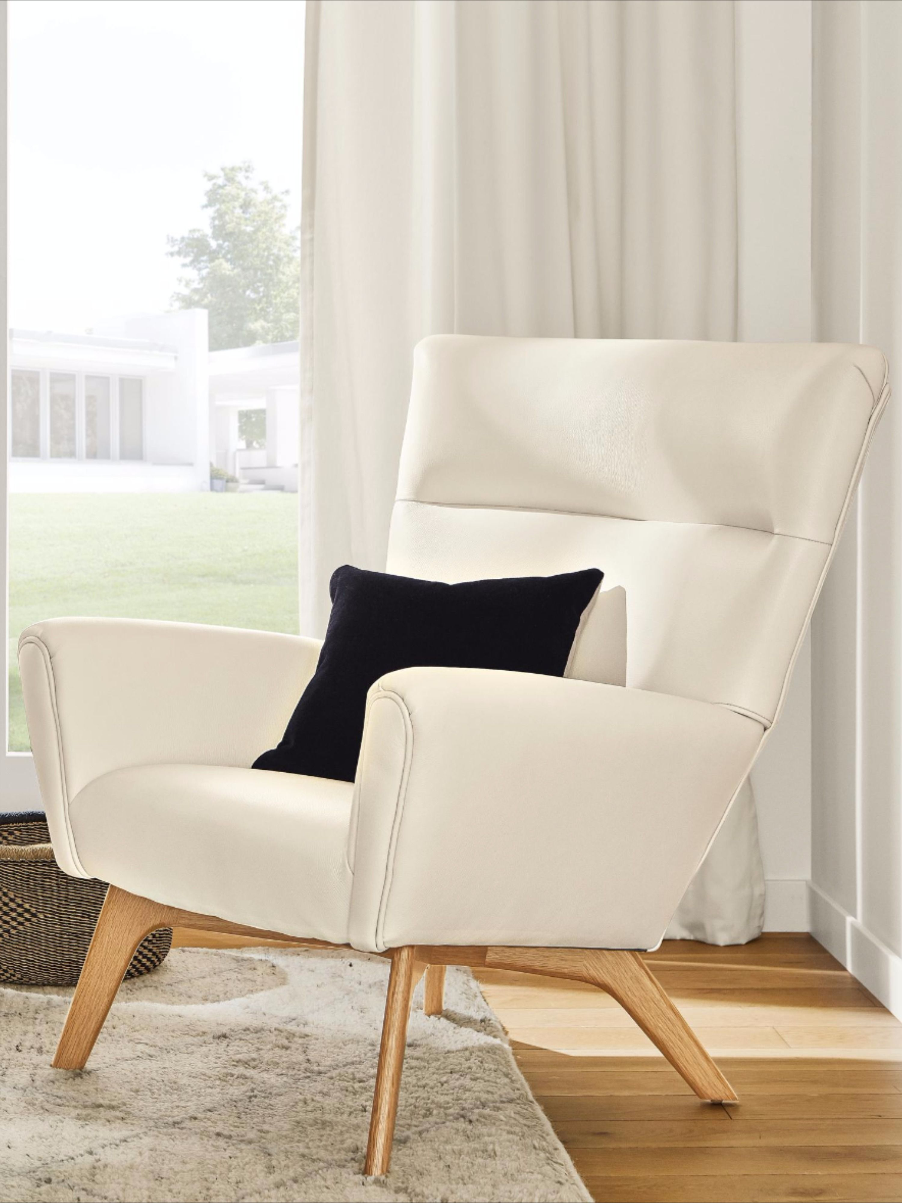 Boden Leather Chair & Ottoman Modern Accent & Lounge