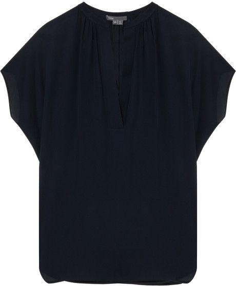 Vince Blue Cap Sleeve Popover Top