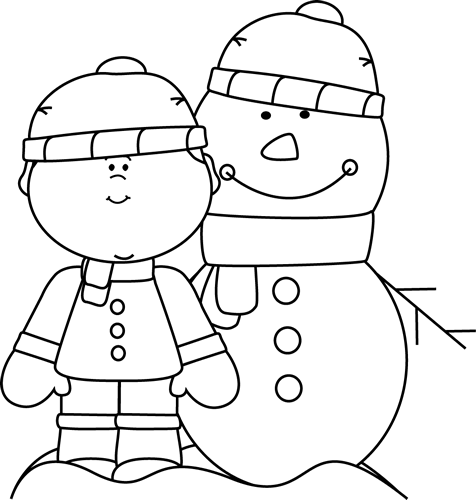 Black and White Boy with Snowman Clip Art - Black and ...