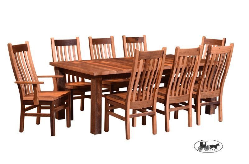 Astonishing Centeramish Made Reclaimed Oak Barnwood 9 Piece Dining Set Beutiful Home Inspiration Cosmmahrainfo