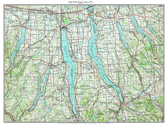 Finger Lakes 1978 USGS Old Topographical Map Custom Reprint ...