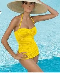 yellow retro bathing suit