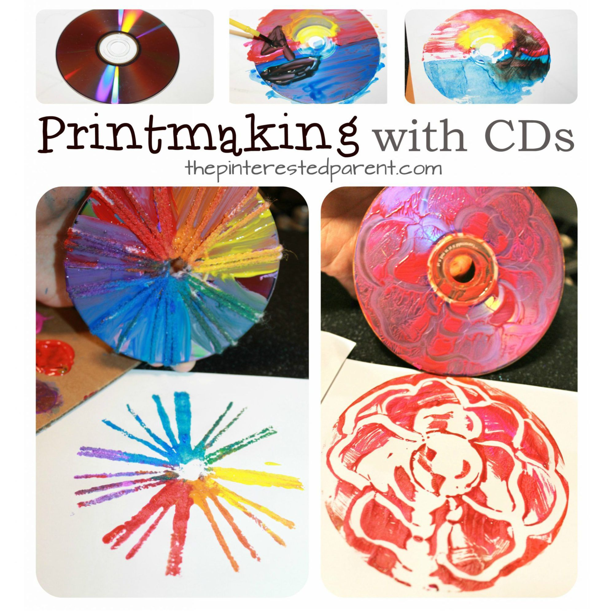 Cd printmaking techniques using paint , yarn, Q-tips and paint. Arts and