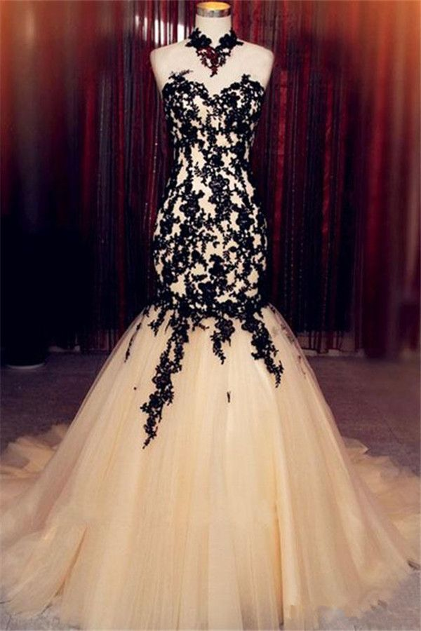 Champagne Sleeveless Mermaid Black High Neck Lace Tulle Evening Dress Ba8175 Item Code Jj015 Tulle Evening Dress Black Wedding Dresses,Bridesmaid Dresses Beach Wedding