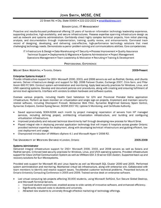 A resume template for a Senior-Level IT Manager. You can ...