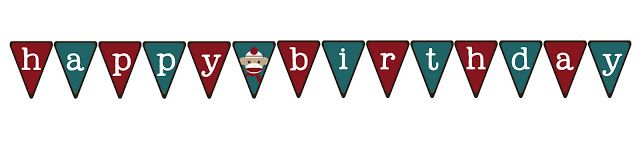 Free Sock Monkey Birthday Printables: Banner