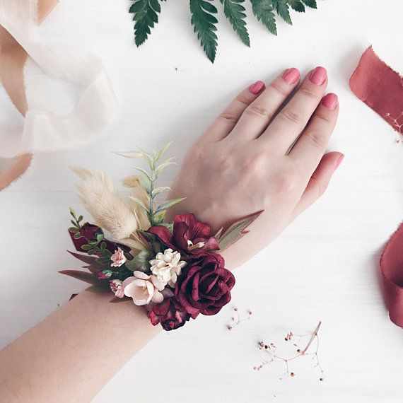 Doing Your Own Flowers For A Wedding: Flower Wrist Corsage, Burgundy Flower Wrist Corsage