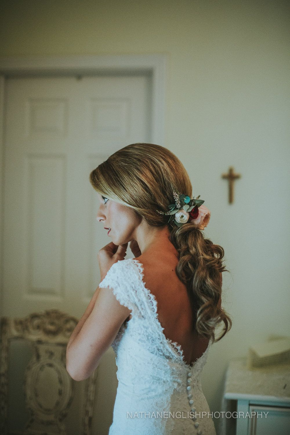 Bridal Hairstyle Idea Vintage Lace Wedding Dress Blush And
