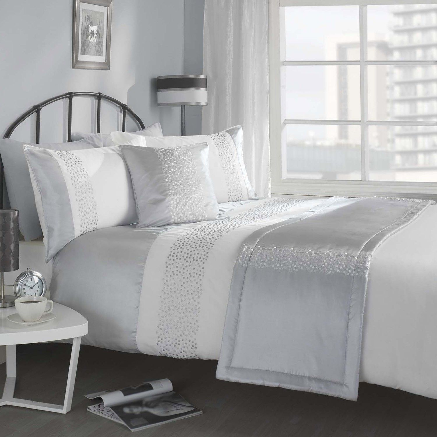 mode silver white luxury 5 piece bed in a bag - Bedding In A Bag