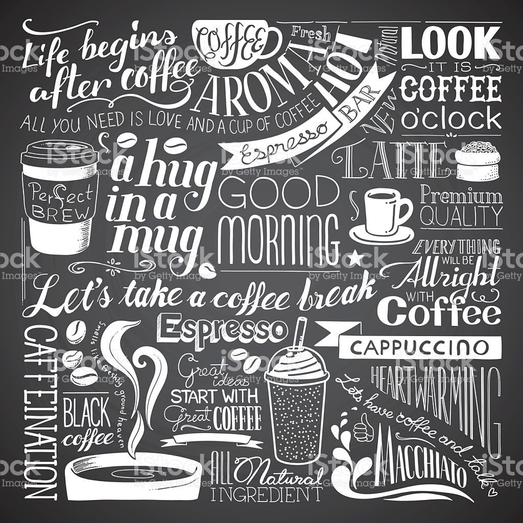 A coffee related chalkboard drawing background. Each