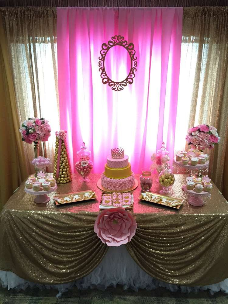 Little princess baby shower party ideas princess baby showers baby shower parties and shower - Pink baby shower table decorations ...