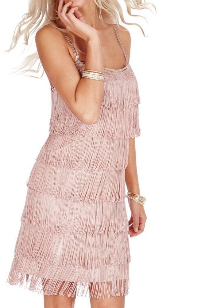 Vestido con flecos nude -mayorista de moda mujer-mayorista de ropa ...
