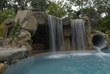 Swimming Pool Grotto Waterfall Cave Grotto Enclosed Slide With Waterfalls Tropical Pool Pool Waterfall Outdoor Water Features Amazing Swimming Pools