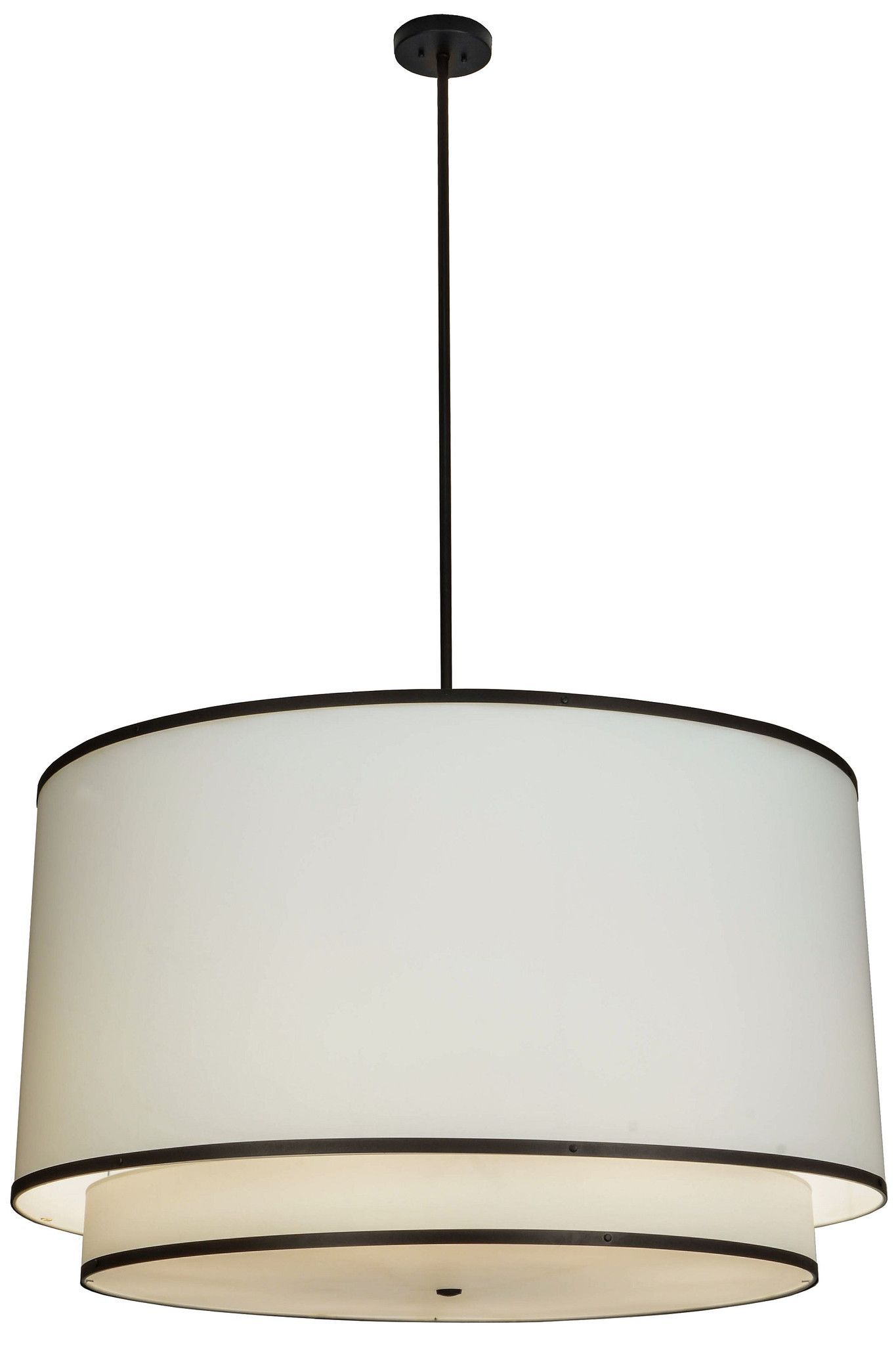 "48""W Cilindro White 2 Tier Textrene Pendant"