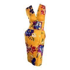 Chic Vintage Albert Nipon Tropical Hawaiian Floral Line Wrap Dress