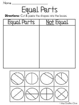 Pin On Kids Education Equal parts worksheets for kindergarten