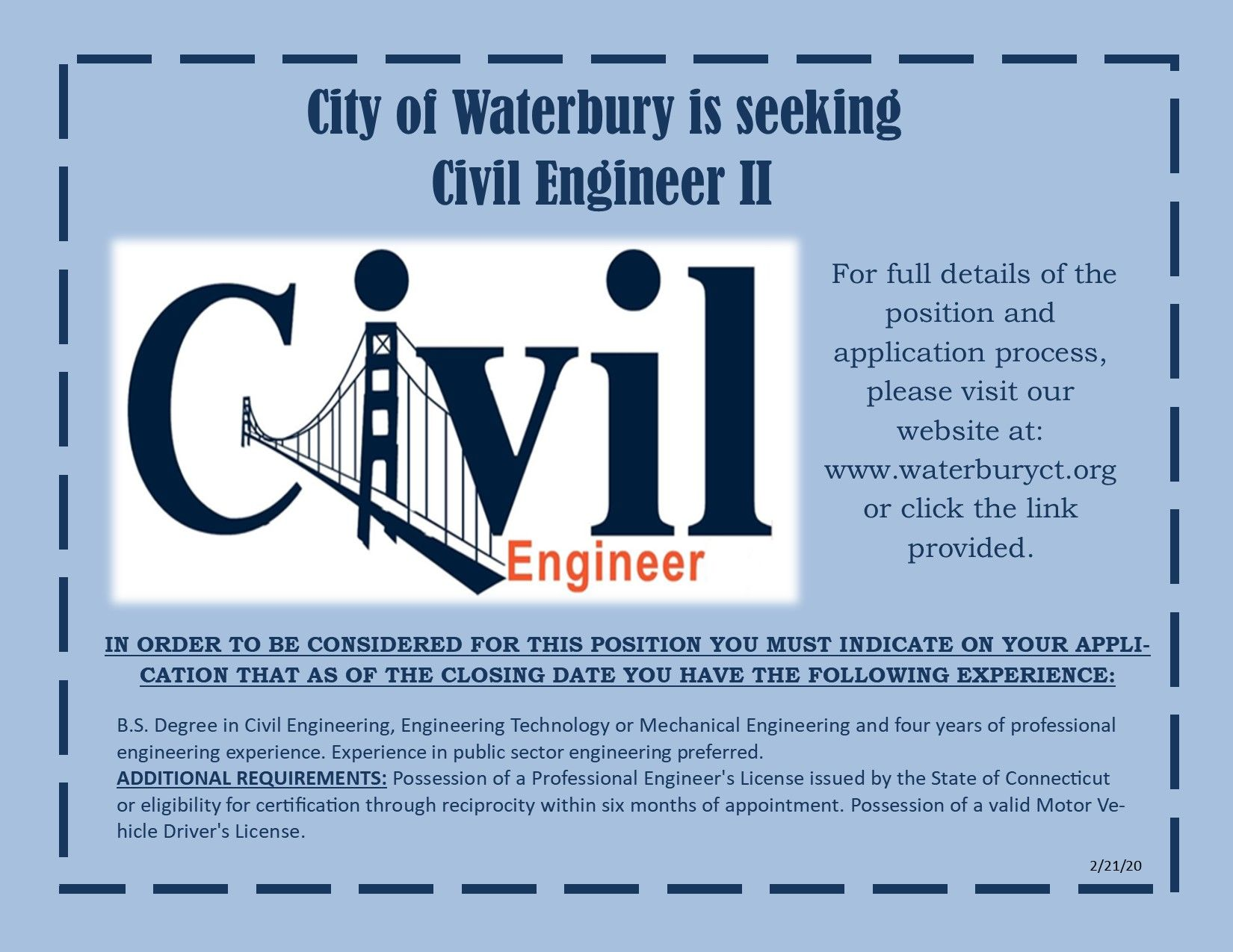 The City Of Waterbury Is Currently Hiring For The Position Of Civil Engineer Ii If You Are Interested In Applying P In 2020 Civil Engineering Job Posting Engineering