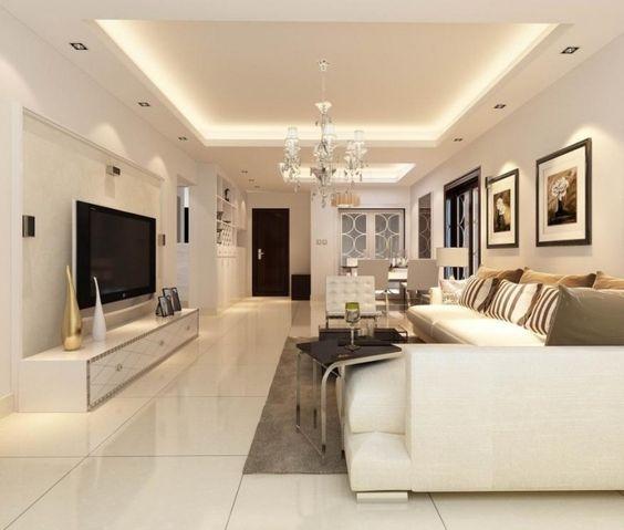 elegantes wohnzimmer in wei gestalten und angeh ngte decke montieren lassen renovierungsideen. Black Bedroom Furniture Sets. Home Design Ideas