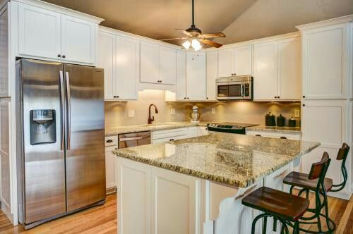 Kitchen White Off White Shaker Cabinets Giallo Ornamental Granite