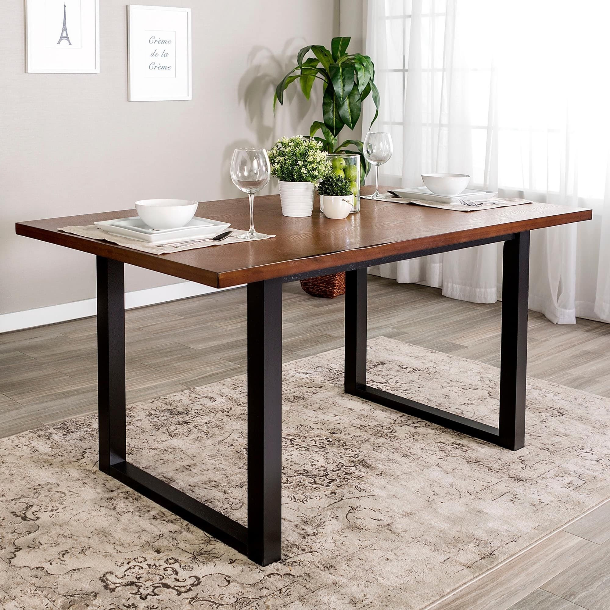 Carbon Loft Delano Two Tone Wood Dining Table 60 X 36 X 30h Traditional Dining Room Table Dining Table Black Dining Room Furniture