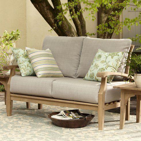 summerton teak loveseat with cushions outdoor patio pinterest
