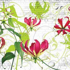'Floral Graffiti' 8-Piece Decorative Wall Mural
