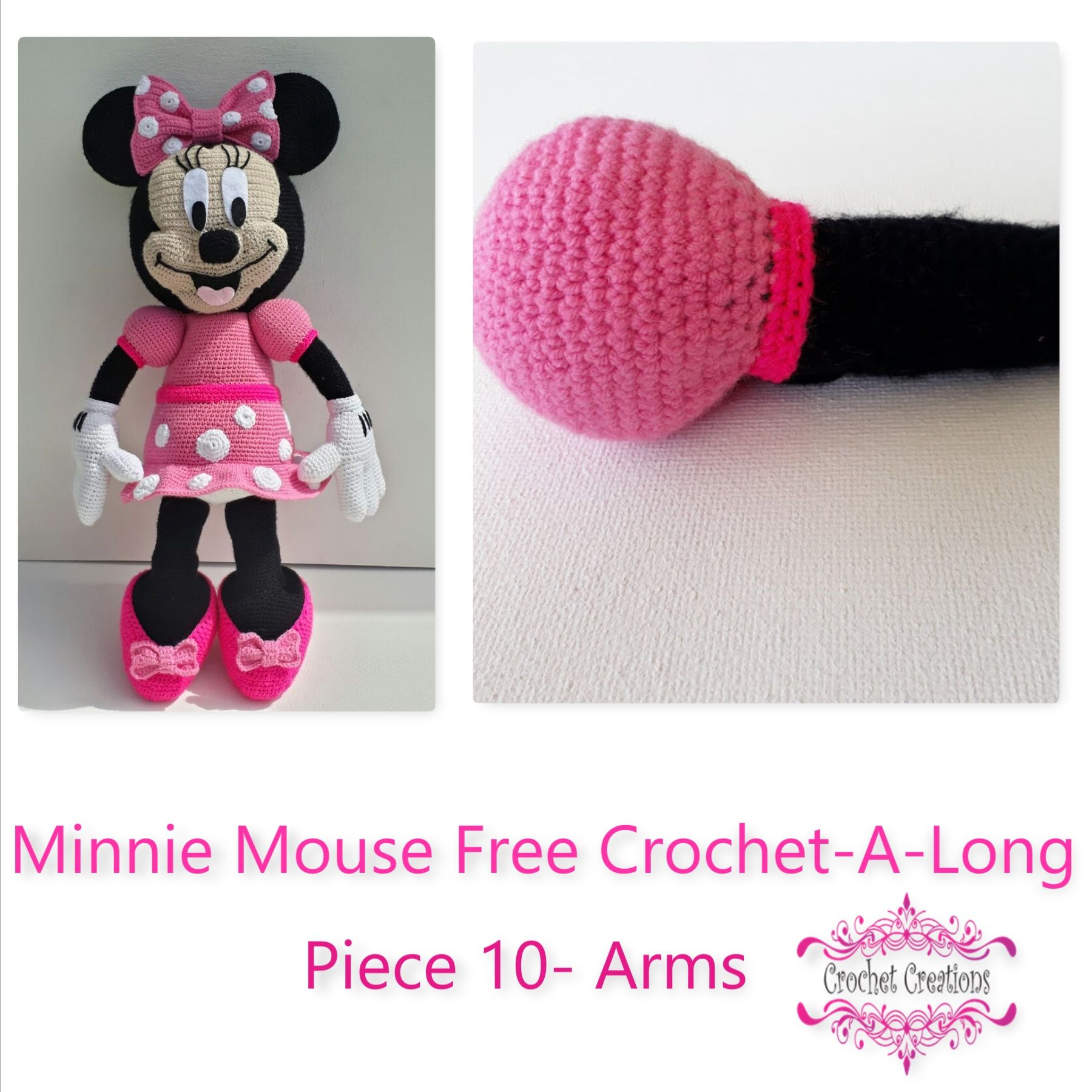 Minnie Mouse Free Crochet-A-Long- Piece 10- Arms | Arm crocheting ...