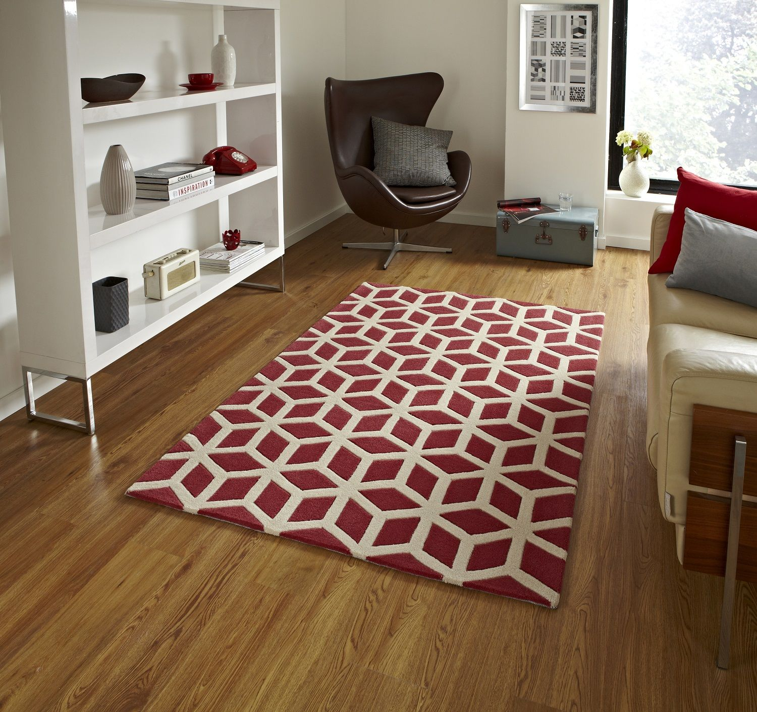 Handmade Optical Illusion Modern Floor Rug With Geometric Design Wool Pile Color Teal Beige