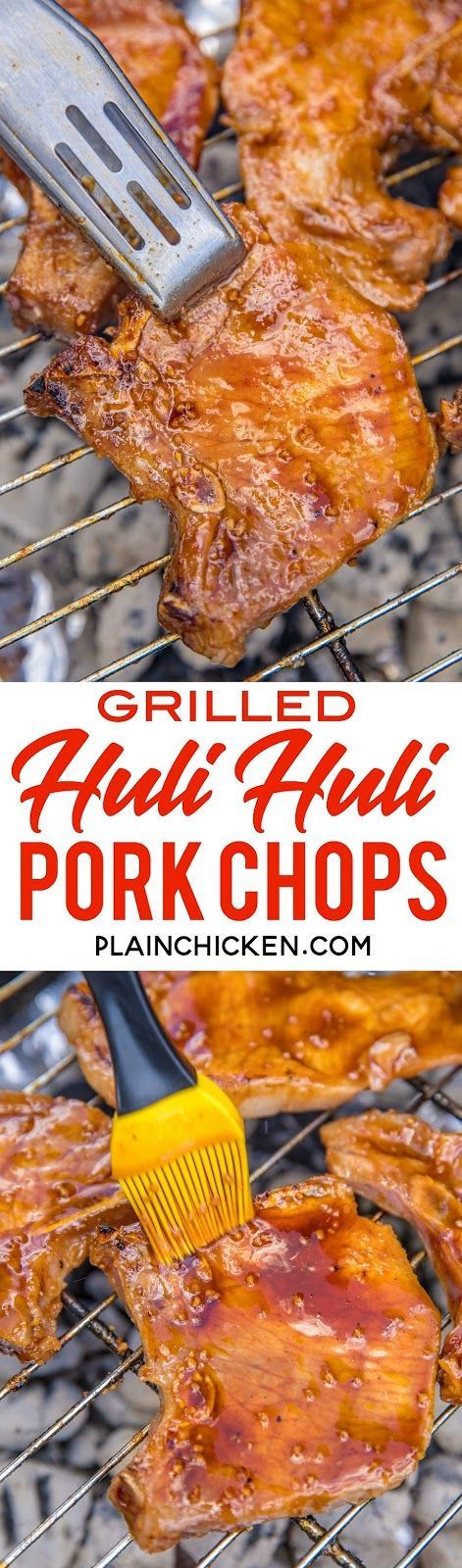 Grilled Huli Huli Pork Chops - pork chops marinated in a quick homemade ginger bbq sauce and grilled. Brown sugar, ketchup, ginger, soy sauce, garlic, sherry and pork chops. Can use boneless or bone-in pork chops. Save some of the marinade to baste pork chops when grilling. The whole family went back for seconds!! Grilled Huli Huli Pork Chops - pork chops marinated in a quick homemade ginger bbq sauce and grilled. Brown sugar, ketchup, gin