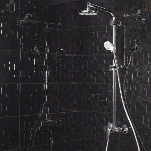 Faience Mur Noir Brillant Decor Relief Cube L 25 X L 75 Cm