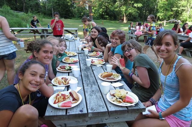 Lunch in the valley at WeHaKee Camp for Girls.