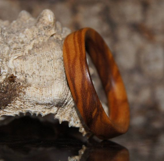 Olive Wood Ring Size 8 Wood Ring by OliveWoodJewellery on Etsy, $15.00
