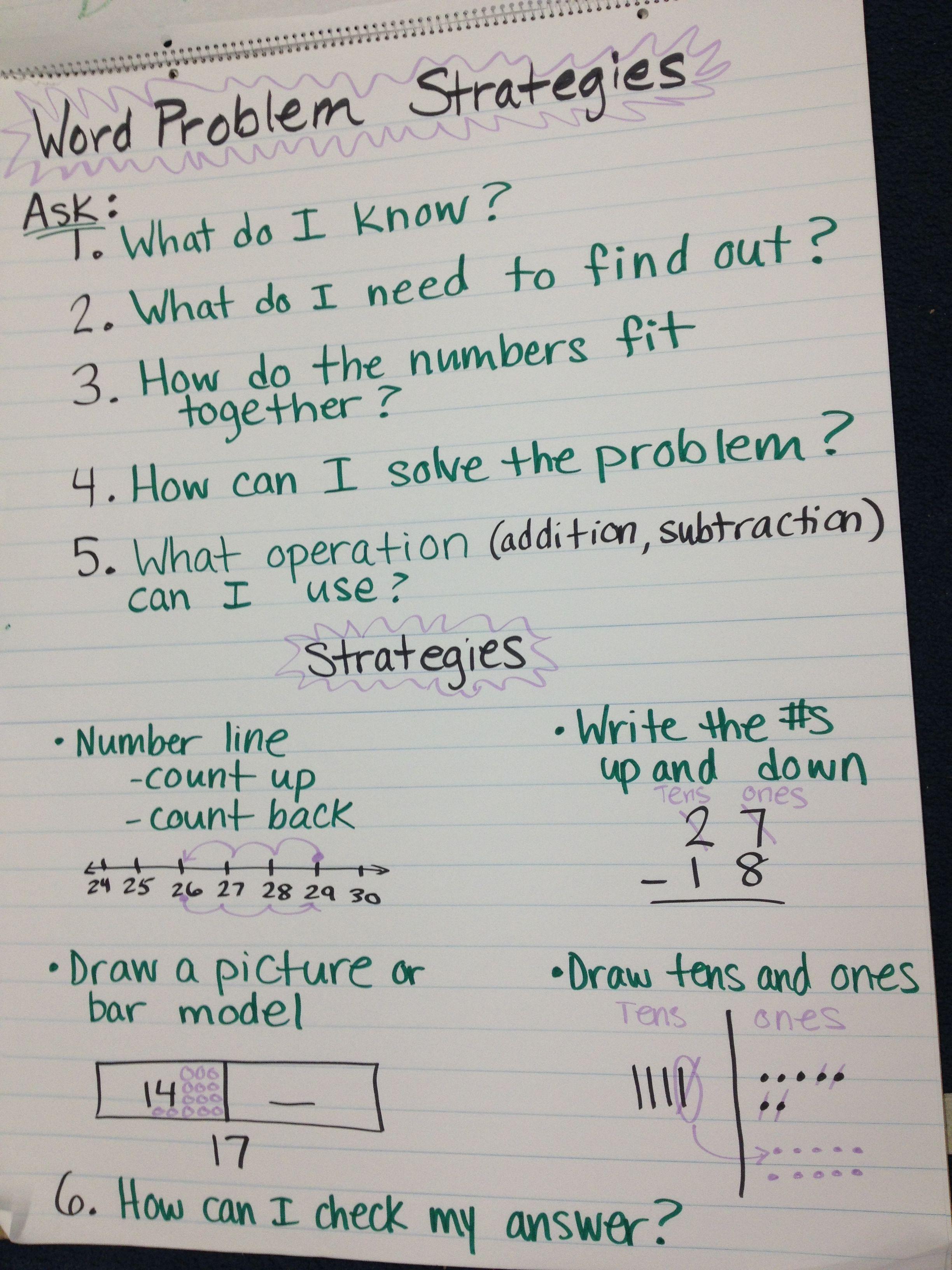 Math Word Problem Steps 2nd Grade