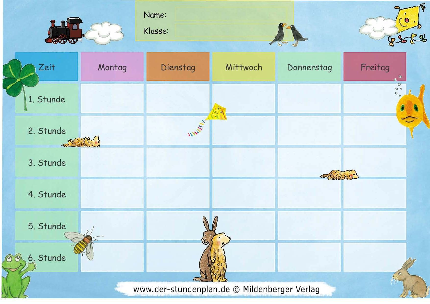 Stundenplan-Vorlage Himmel und Tiere | COSE DI CARTA | Pinterest