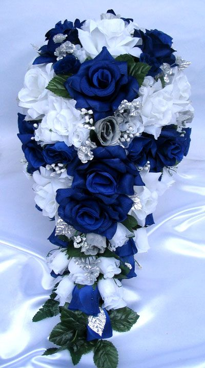 21pc Bridal bouquets wedding Silk flower ROYAL SILVER WHITE Bride\'s ...