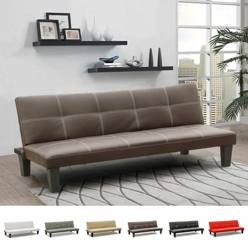 3 seats sofa bed in faux leather. Ergonomic and