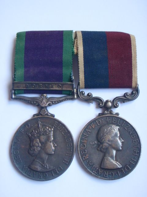 Campaign Service Medal (Bar - Borneo) and Long Service & Good Conduct Medal - Royal Air Force