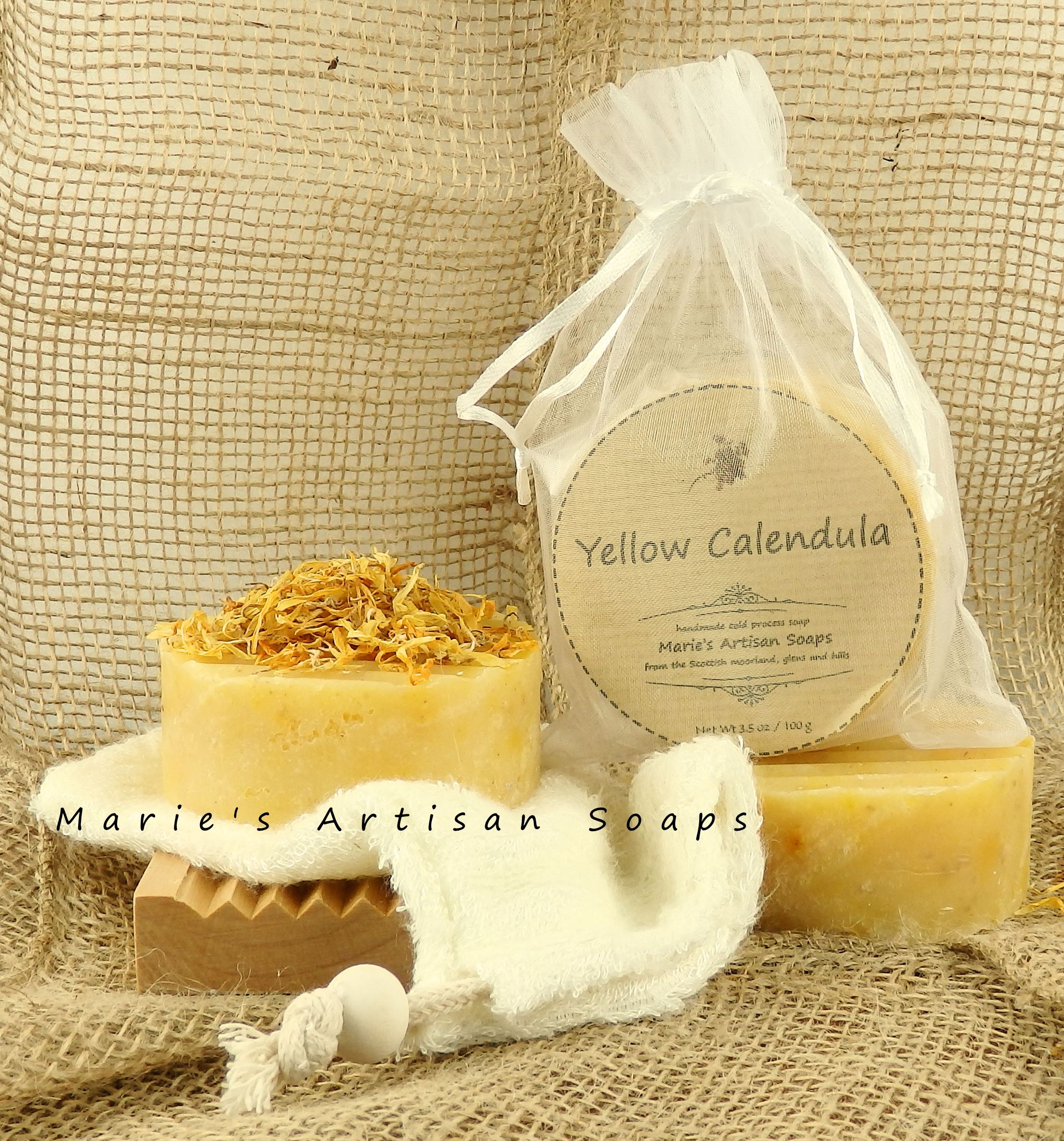 "Our ""Yellow Calendula "" bar of soap is our best seller soap! We are working in our workshop and will be restocking more soon! We have few bars available, visit our on line shop and get yours. Contains Tea Tree Oil which can improve your skin and treat acne naturally helping to prevent acne and other minor skin irritations. This beneficial oil has been blended with Geranium and Rosewood pure essential oils to lift your spirit and relief stress."