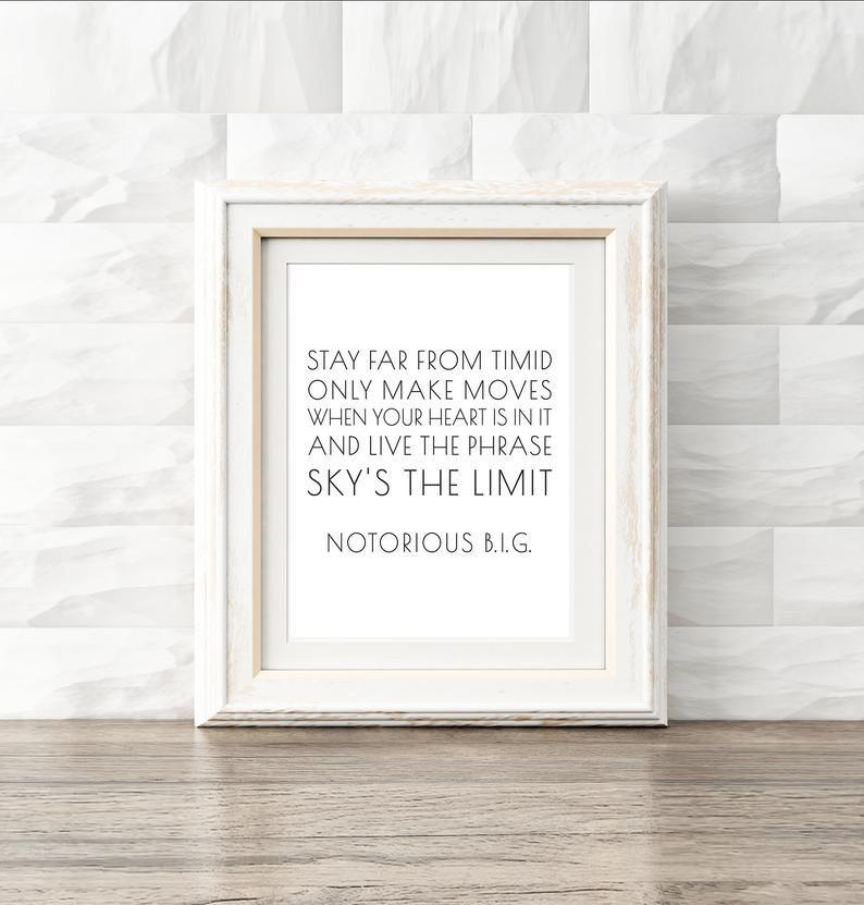 Notorious big lyrics hip hop printable typography quote