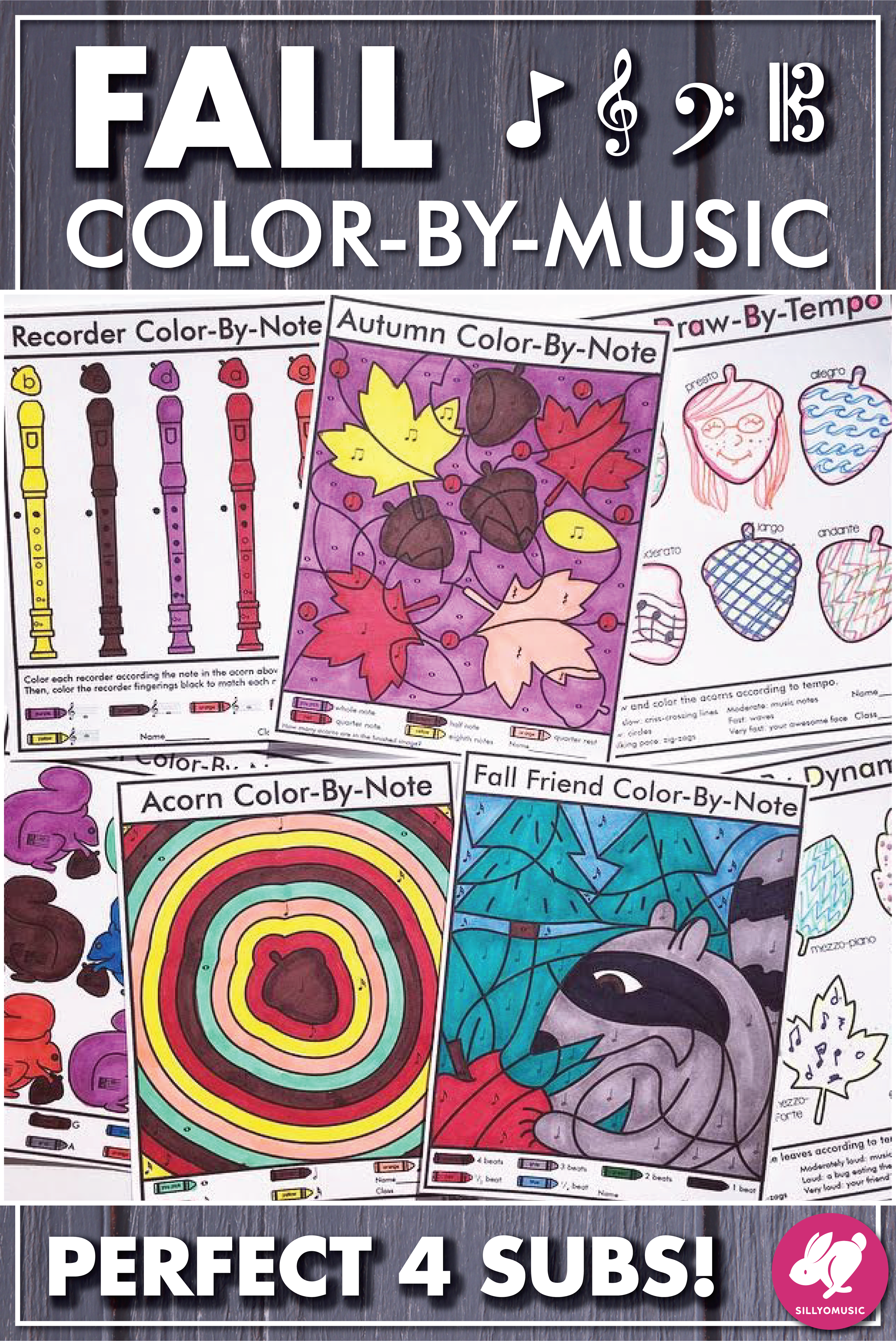 Fall Color By Note Music Worksheets