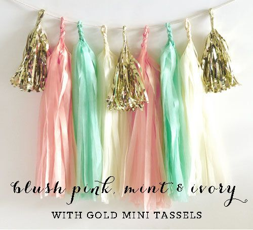 Mint and Gold and Pink Tassel Garland DIY KITS are a stylish way to decorate your birthday or baby shower! These easy to assemble Tissue Garland Kits