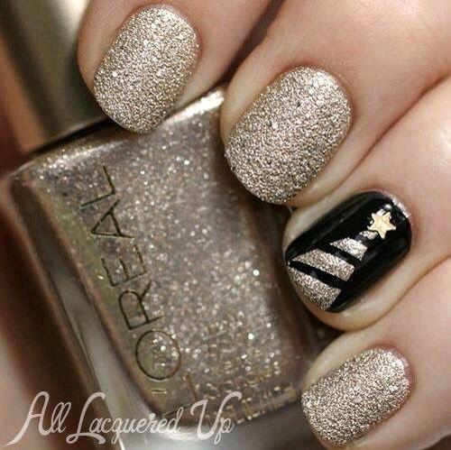 cute christmas nails - Black Christmas Nails