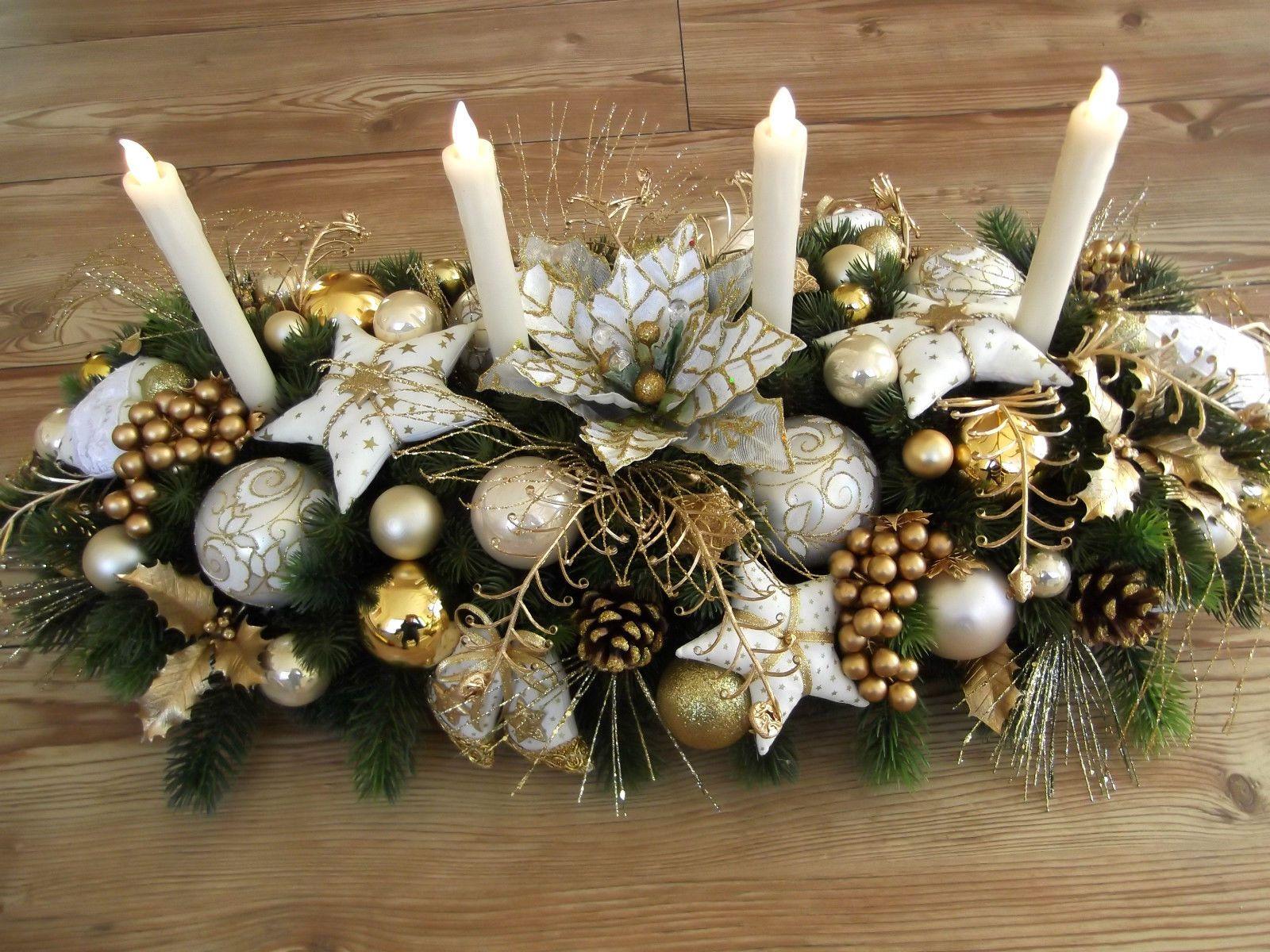 Tischgesteck Weihnachtsdeko Adventsgesteck Champagner Gold Tilda Art Ebay Christmas Decorations Holiday Decor Floral Centerpieces