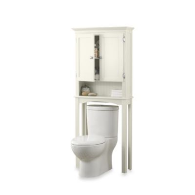 space saver cabinet in ivory from at bed bath beyond this elegantly designed fairmont free standing space saver cabinet fits neatly over the toilet - Bathroom Cabinets That Fit Over The Toilet