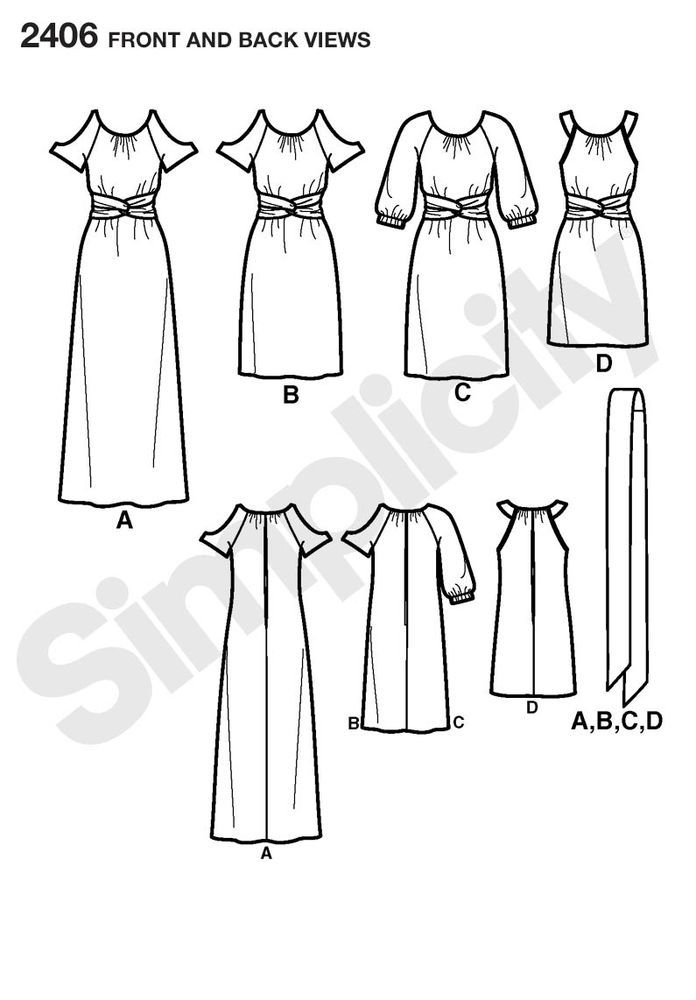 misses' dress in three lengths with sleeve variations by