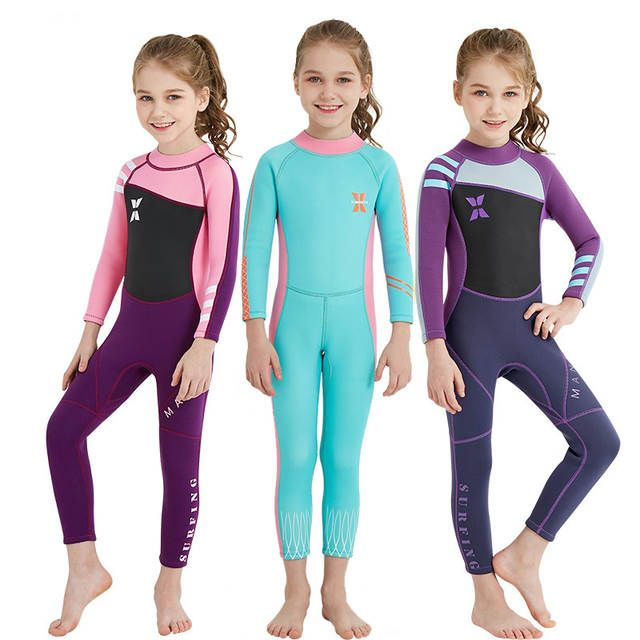 c2cce75ff1 Kids Diving Suit 2.5mm Neoprene Children Wetsuit Girls Surfing Keep Warm  One-piece Long Sleeves UV protection Swimwear