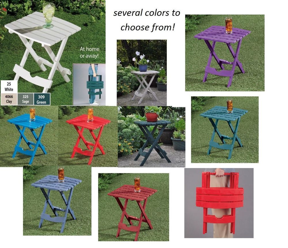 Plastic QUIK FOLD Small Side End TABLE Portable Folding Outdoor Patio USA  MADE